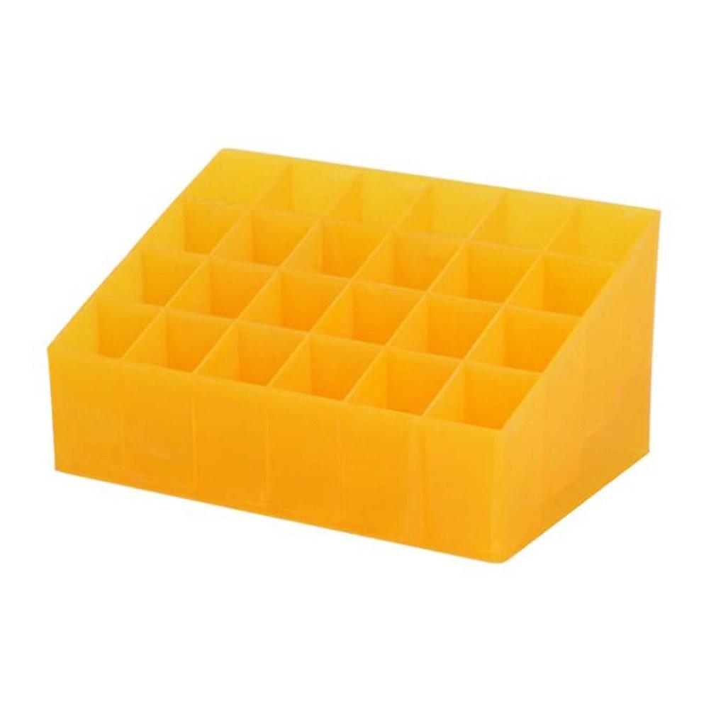 24 Grid Lipstick Holder Plastic Cosmetic Organizer Lipsticks Display Rack Portable Makeup Storage Box