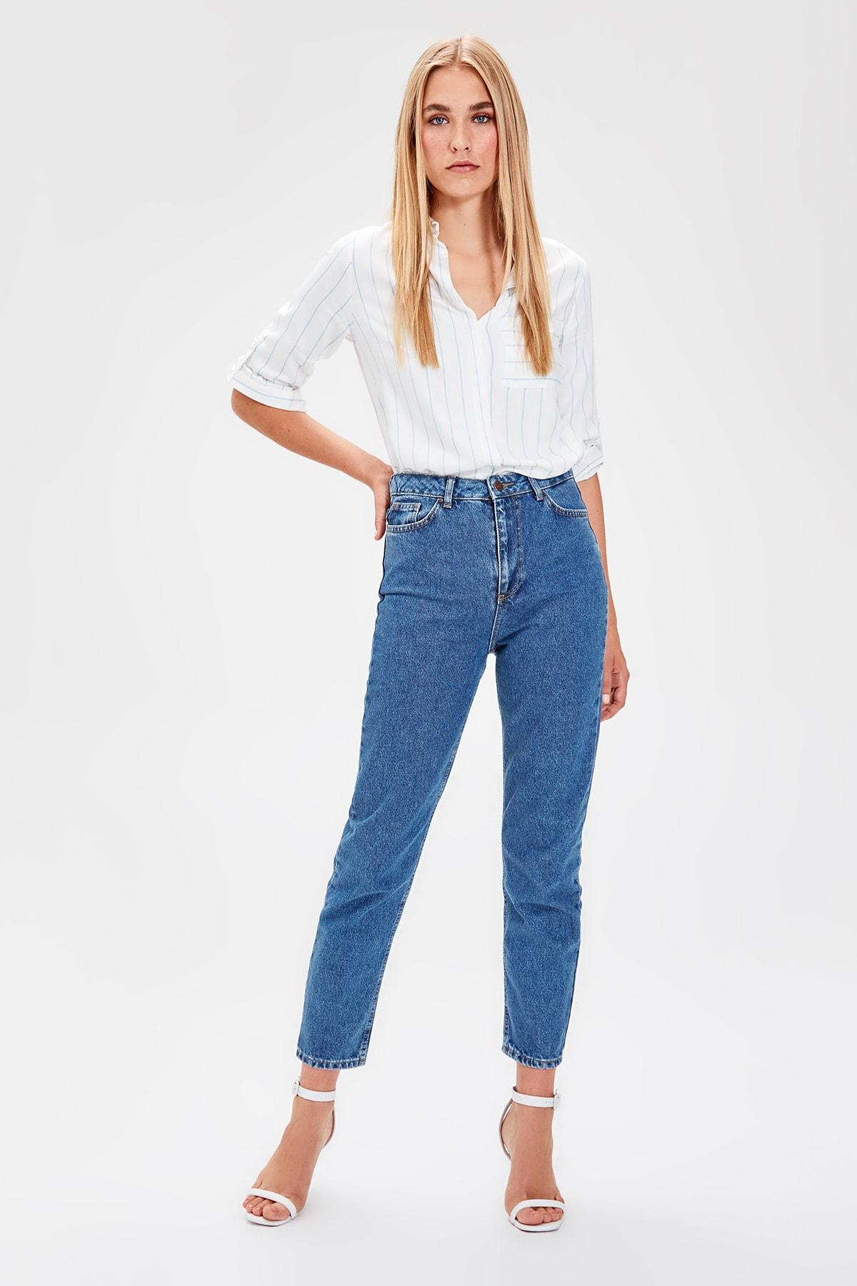 Trendyol Mavi 2014basic High Waist Mom Jeans TWOAW20JE0052