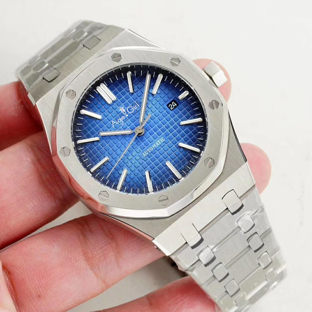 Luxury Brand New Men Watch Stainless Steel Automatic Mechanical Sapphire Glass Back See Through Black Blue Grey AAA+