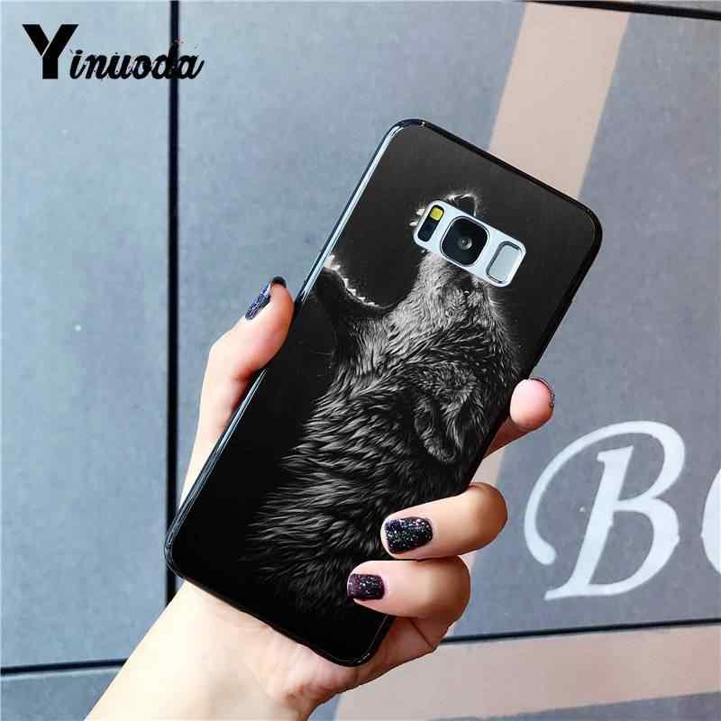 Yinuoda غاضب الحيوان الذئب نصف الوجه DIY رسمت الهاتف حقيبة لهاتف سامسونج غالاكسي S9 plus S3 S6 7 8 9 S10 E S9 الهواتف المحمولة