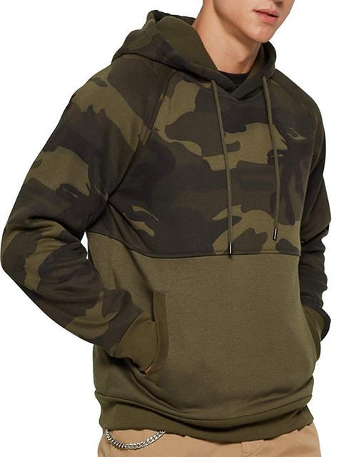 Fashion Fleece Hoodies Men Army Camo Hooded Sweatshrits Kanga Pocket Hoody Outwear Male Sportswear Super Mens Camouflage Hoodie Others Men's Fashion