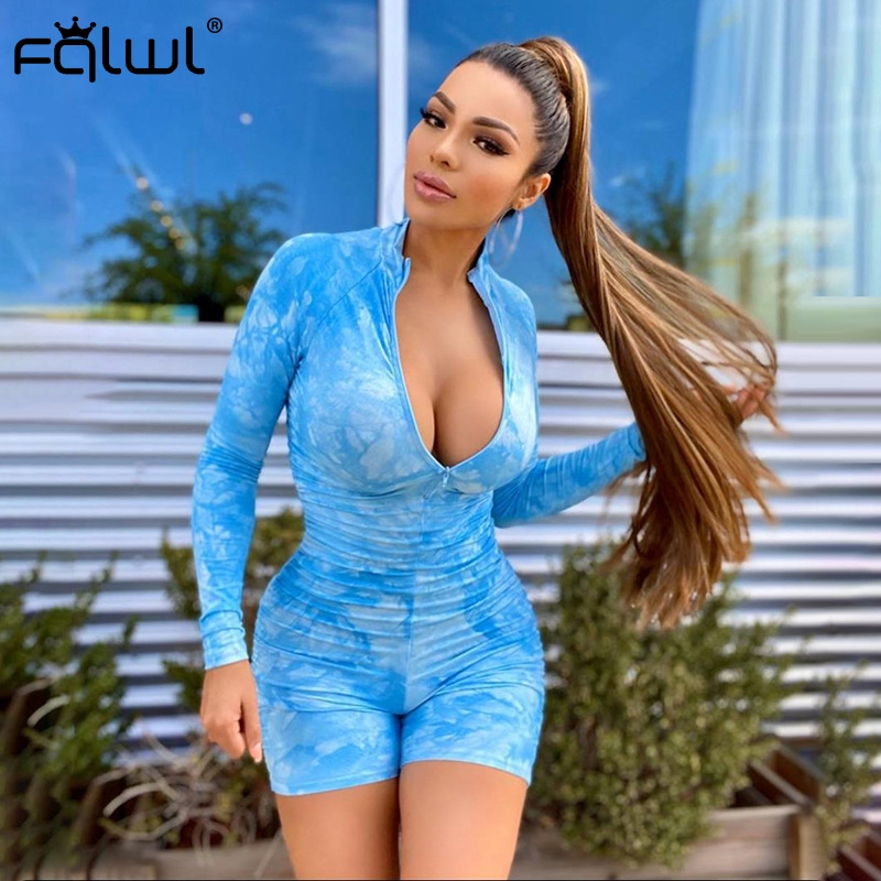 Hbedbda36de6d4d598958e9ce35122345i - FQLWL Tie Dye Print Summer Sexy Bodycon Rompers Womens  Jumpsuit Playsuit Zipper Skinny Long Sleeve Ladies Short Jumpsuit Female