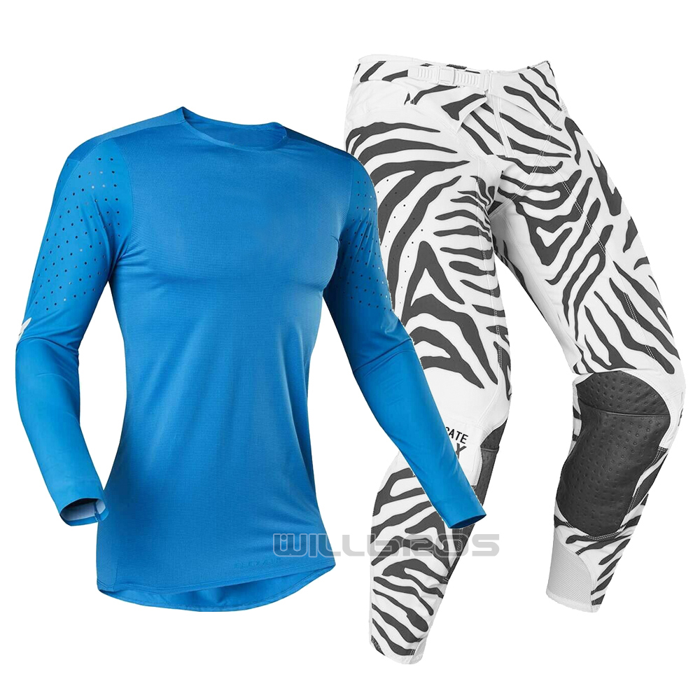 MX 2019 LE Flexair Zebra Off Road Motocross Dirt Bike Jersey Pant Men's Gear Set Sports Running Training Breathable Quick-drying