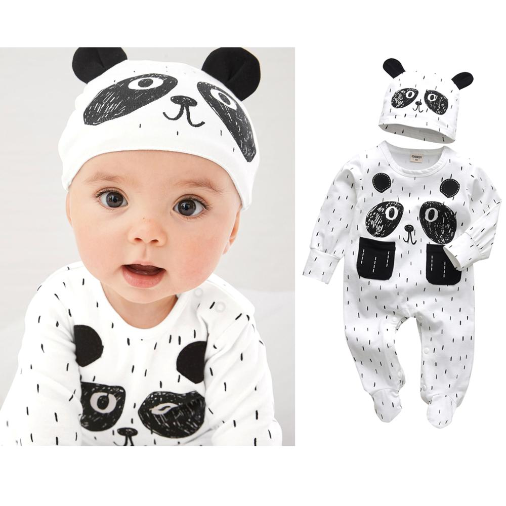 Newborn Infant Baby Boys Romper Clothes Cotton Cute Cartoon Print Long Sleeve Jumpsuit+Hat 2 Pcs Toddler Baby Clothes Outfits | Happy Baby Mama