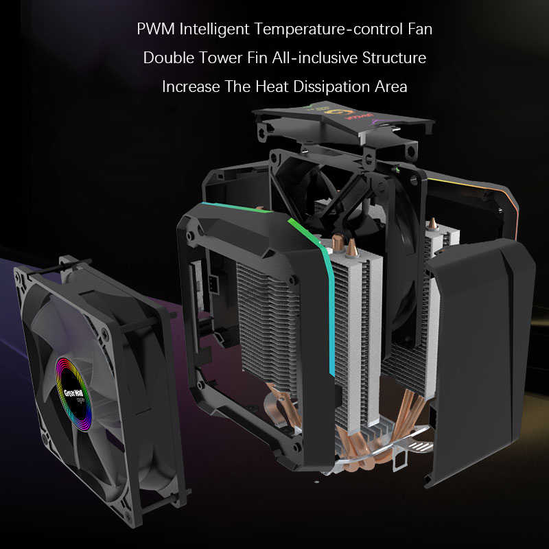 Great Wall chłodnica procesora ARGB 90mm wentylator chłodzenia Aura synchronizacji dla Intel LGA 1150 1151 1155 1156 775 AMD AM3 AM4 Cooler RGB chłodzenia procesora