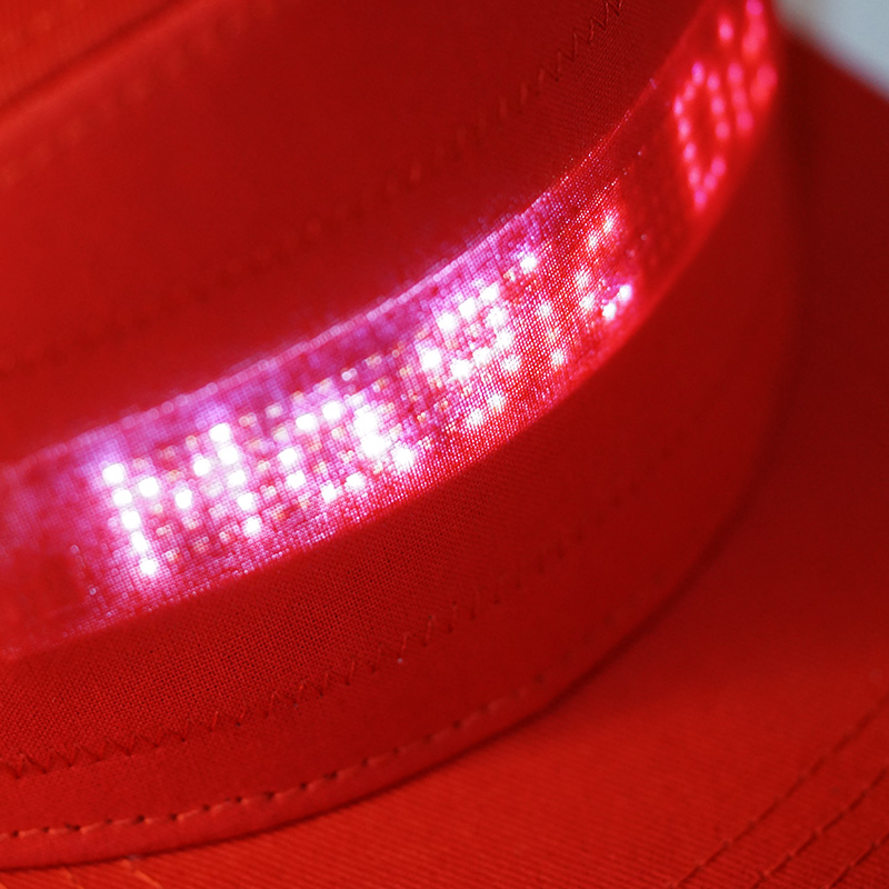 Mobile App Operated LED Message HAT with Bluetooth in Red n Black for Party and Sports 4