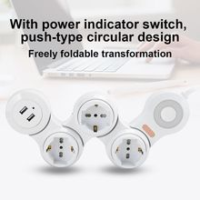 Power Strip Deformation 3 Concave Jack 10A USB Charging Safety EU Plug 220V 250V multi plug new
