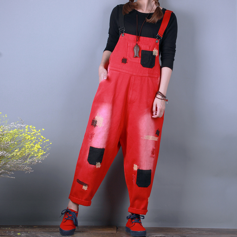 Denim Overalls Women Wide Leg Jumpsuits Baggy Suspenders Cowboy Pants Hole Ripped Jean Bodysuits Purple/Red Embroidery Rompers