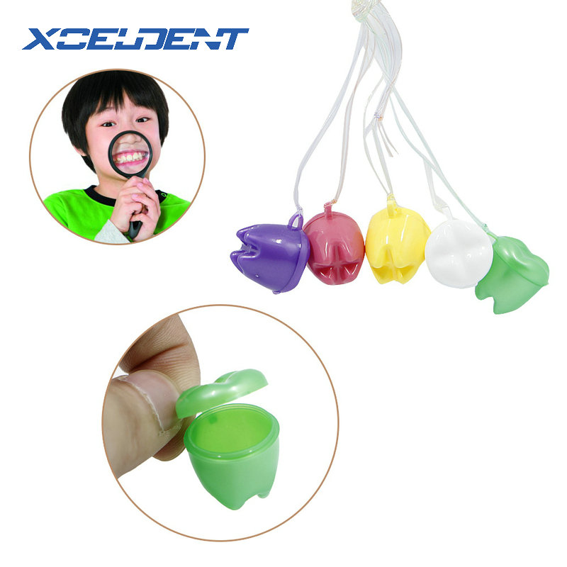 5pcs Children Kids First Teeth Tooth Fairy Saver Boxes Cases with String Best Gift for Children image