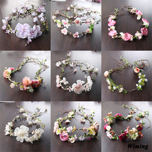 fashion cute korean Artificial Simulation fake Flowers bride Wreath for wedding decoration rattan braided womens headbands