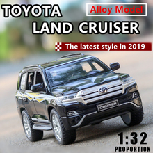 1:32 Toyota Land Cruiser Land Cruiser 6 open door with sound light children's alloy car model collection gift pull-back vehicle 1 18 diecast model for toyota land cruiser fj140 1977 yellow alloy toy car miniature collection gift