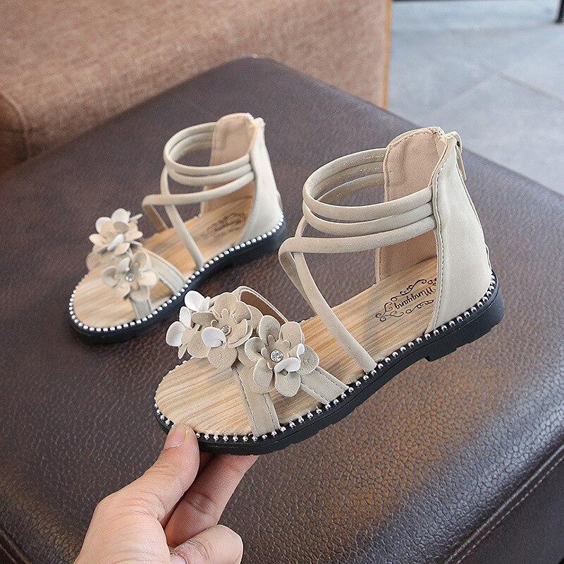 2020 New Kids Flat Sandals Girls Fashion Sandals Summer Shoes Rivets Zip Roman Style Children Princess Shoes Casual Sandals
