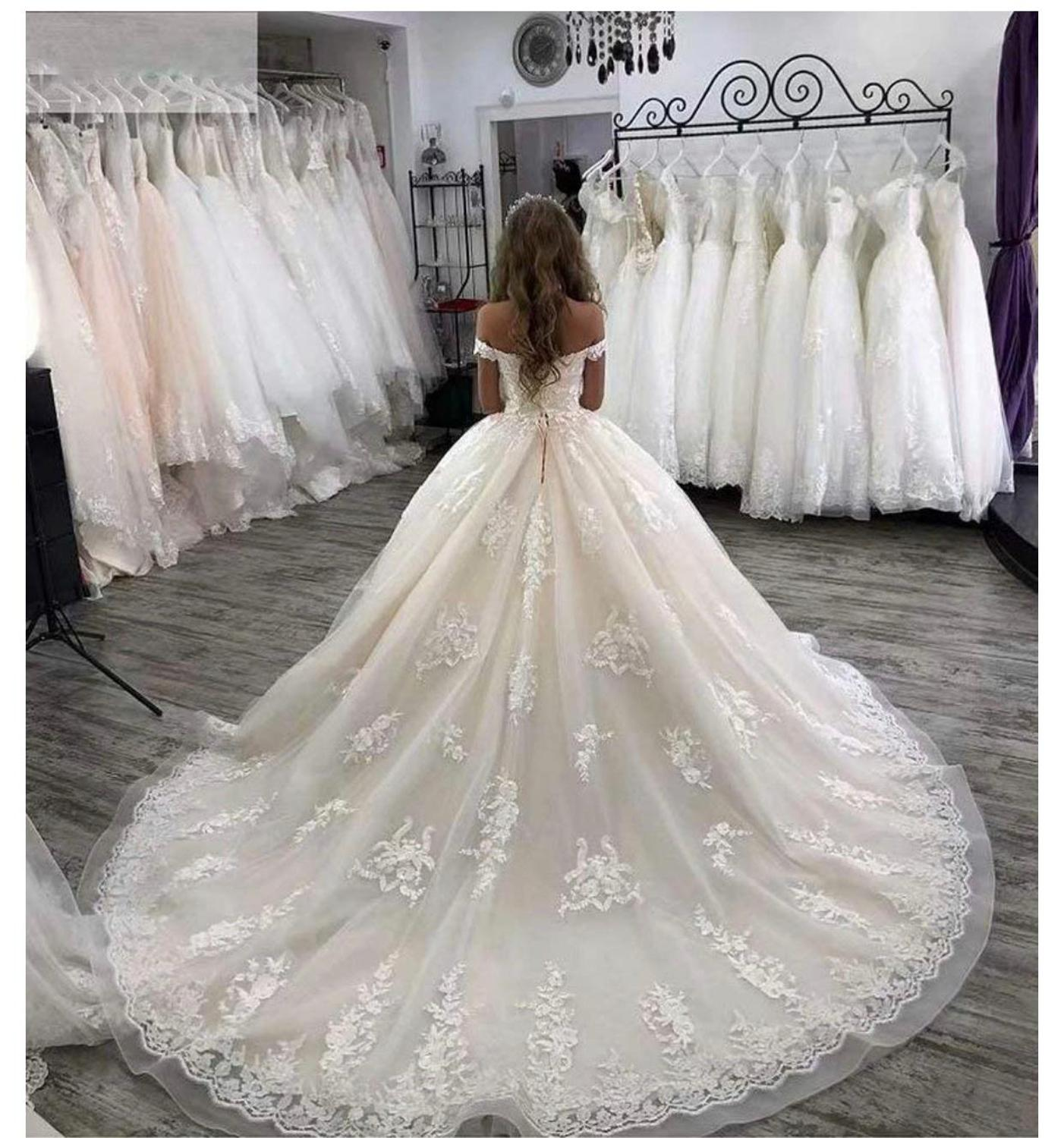 Image 3 - Eslieb custom made ball gown lace appliques wedding dress 2020 wedding dressesWedding Dresses   -