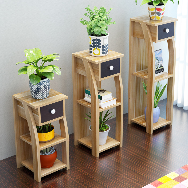 A Rack Balcony Landing Type Woodiness Flower Airs Multi-storey The Shelf Is Full Of Meat Green Luo Flowerpot Frame Household