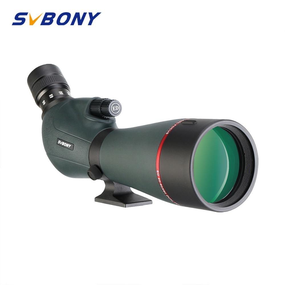 SVBONY SV406P 80ED 스포팅 스코프 20-60 줌 망원경 FMC 렌즈 코팅 초저 분산 유리 사냥을위한 이중 초점