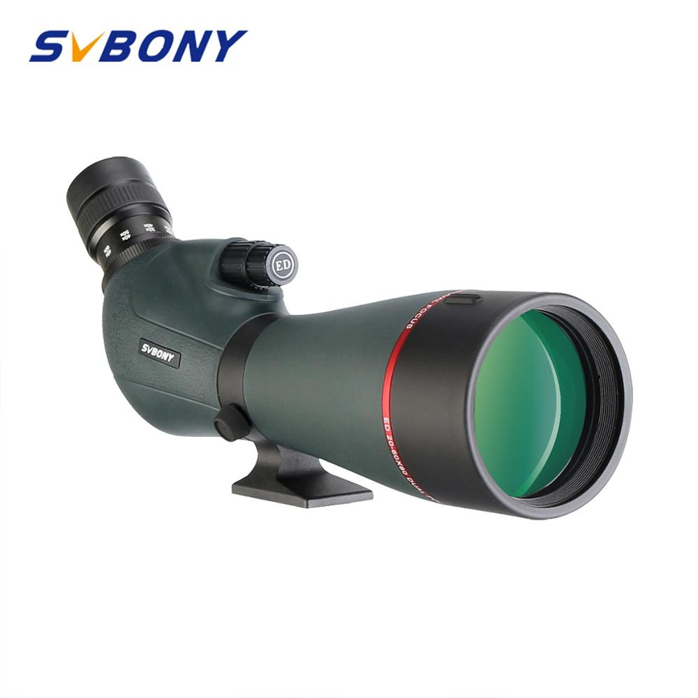 SVBONY SV406P 80ED Spotting Scope 20-60 Zoom Telescope FMC Lens Coating Extra-Low Dispersion Glass Dual Focus For Hunting