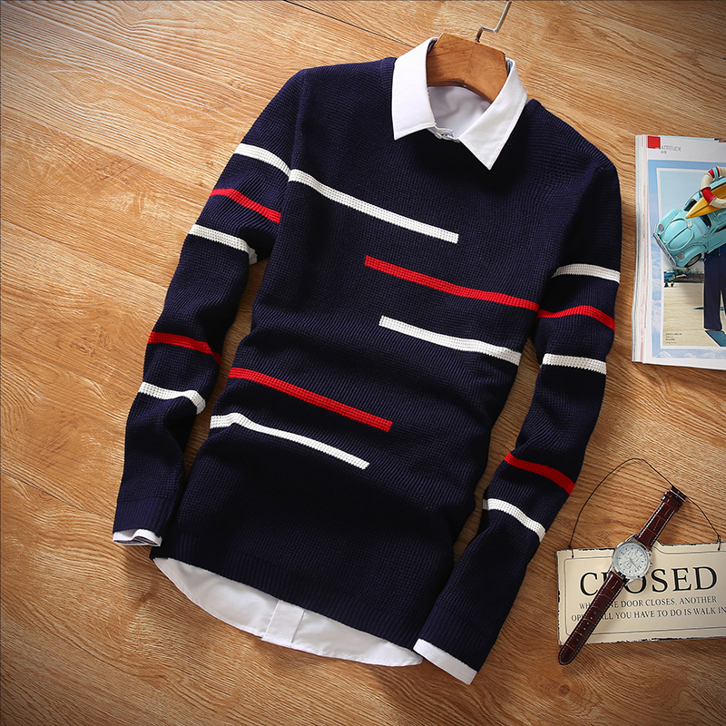 Men Brand Clothing 2019 Autumn Winter Wool Slim Fit Sweater Men Casual Striped Pull Jumper Men