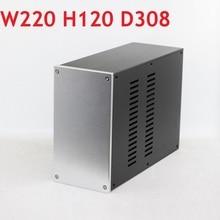 Tamaño D308 W220 H120mm DAC, carcasa de amplificador, chasis de aluminio, fuente de alimentación, amplificador DIY de caja de CJ WA123
