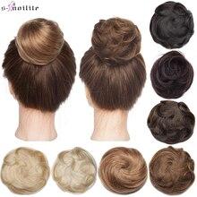 S-noilite 30g Curly Hair Bun Donut Chignon Roller Hairpiece Wrap On Elastic Hair Bands Lady Scrunchie Brown Blonde Clip Headwear