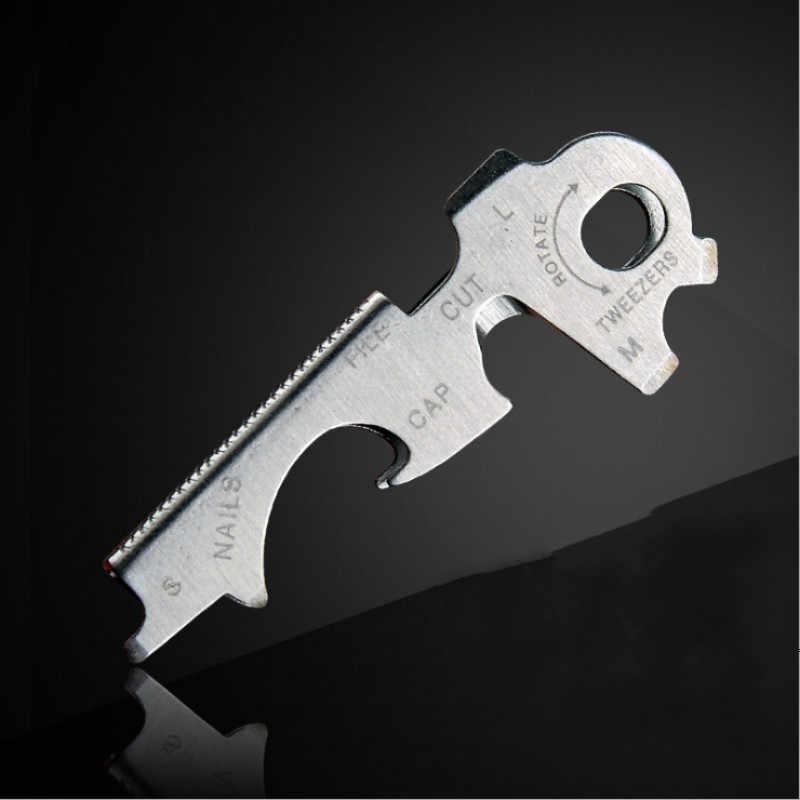 8 en 1 Multi outil clé en acier inoxydable en plein air outil multifonctionnel utilitaire Multi anneau chaîne décapsuleur outil de survie