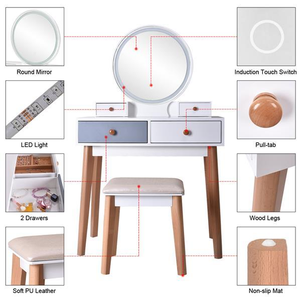 Dresser With Mirror Bedroom Light Luxury Real Wood Dressing Table Simple Makeup Table With Lamp Three Color Adjustable 4