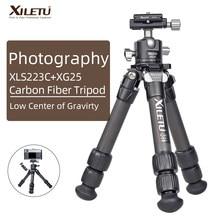 XILETU Lightweight Stable Carbon Fiber Tripod w 360° Rotation Detachable Ball Head Mini Tabletop Stand For Digital Cameras DSLRS