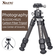XILETU Lightweight Stable Carbon Fiber Tripod w 360° Rotation Detachable Ball Head Mini Tabletop Stand For Digital Cameras DSLRS