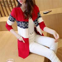 2019 Women's Long Sweater Cashmere Autumn Cardigan knitting Sweater Pink Black Red Printing Winter Fashion Slim Women 7479 50