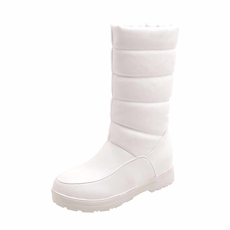 ASUMER 2020 artı boyutu 50 kış kar botları kalın kürk tutmak sıcak kadınlar yarım çizmeler yuvarlak ayak rahat düz rahat ayakkabılar bayanlar