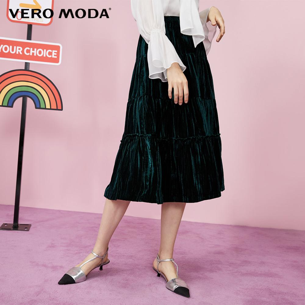Vero Moda Women's Mid-length Velvet Gathered A-lined Skirt | 31931J505
