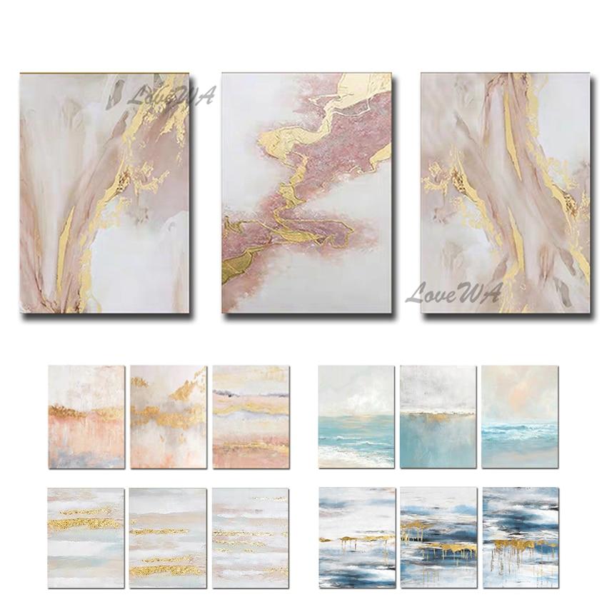 Abstract Gold Foil Line Art Paintings 100% Handmade Acrylic Canvas Modern Wall Decor Art Newest Wall Unframe Decor Oil Painting