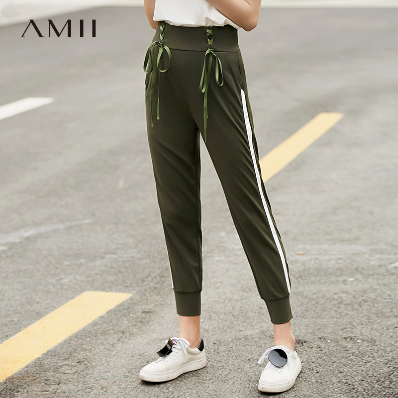 Amii Minimalist Stripe Sport Pants Summer Women High Waist Solid Straight Female Casual Pants 11920131