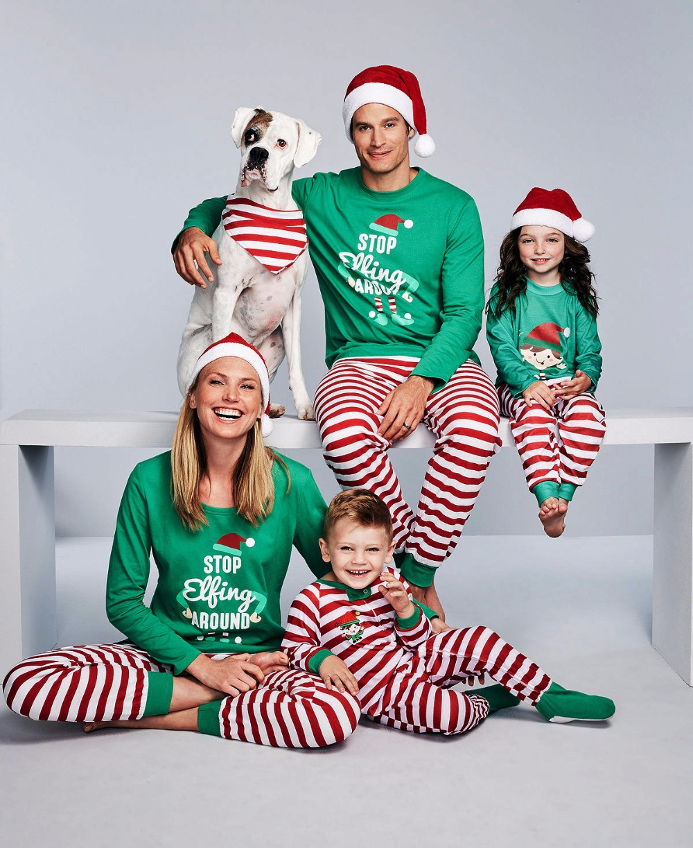 Family Christmas Pajamas Set Family Matching Clothes Adult Kids Pajamas Set Baby Romper Xmas STOP Elfing Family Sleepwear