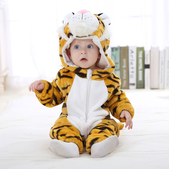 Baby Clothes Animal Tiger Kigurumis Infant Romper Onesie Warm Baby Clothing Funny cosplay Boys Girls Onesies baby Newborn Hooded baby elephant kigurumi pajamas clothing newborn infant romper animal onesie cosplay costume outfit hooded jumpsuit winter suit