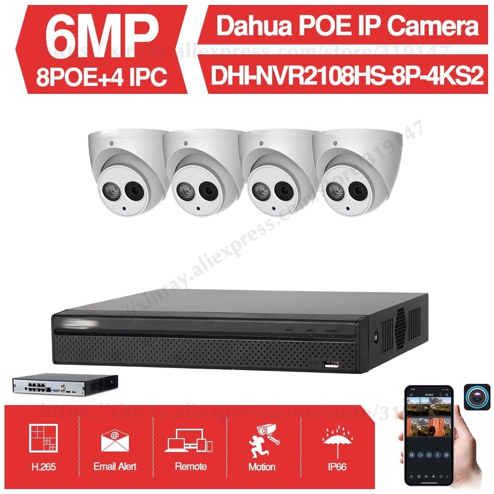 Dahua 6MP 8+4 Security CCTV Camera Kit With NVR2108HS-8P-4KS2 IP Camera IPC-HDBW4631C-A P2P Surveillance System Easy To Install