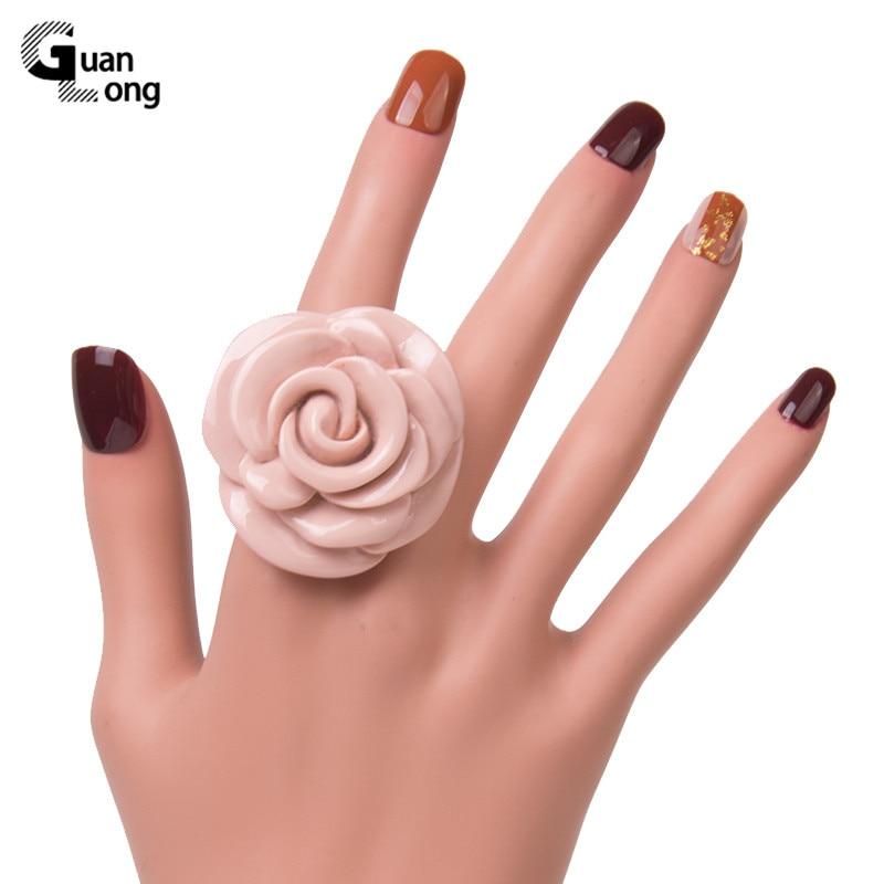 Guanlong Acrylic Rose Flower Engagement Women's Rings Fashion Jewelry Resin Vintage Wedding Ring for Girls Female Punk Rings 1