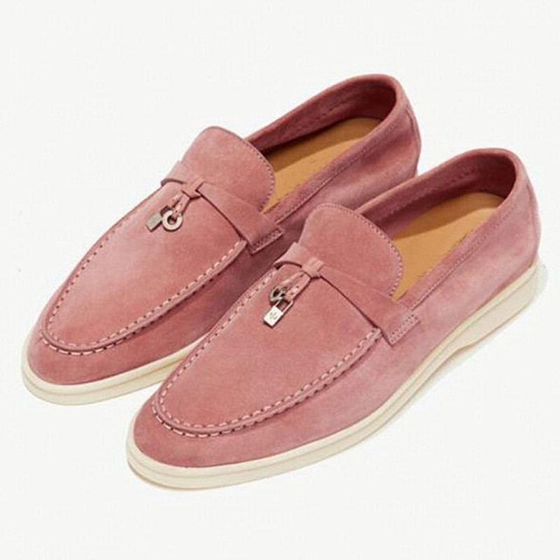Driving Lazy Loafers Suede Comfortable Flat Shoes Woman Metal Lock Decoration Causal Shoes Genuine Leather Round Toe Women Shoes