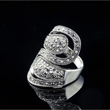 RC052 Luxury Exaggerated Geometric Full Rhinestone Crystal Retro Vintage White Gold Color Rings Wholesale Jewelry For Woman newest viennois fashion jewelry gun color geometric finger rings for woman rhinestone and crystal party accessories