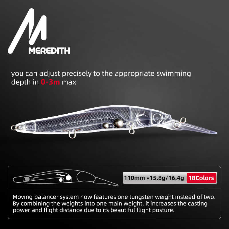MEREDITH Minnow Wobblerเหยื่อตกปลา 110Mmเหยื่อHardประดิษฐ์ความลึก 0-3Mเหยื่อJerk Bass Pikeเหยื่อช้าหรือFlaoting
