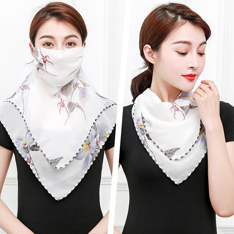 2020 New Chiffon Face Mask Protection Women Sun Scarves Neck Cover Solid Print Lady Hiking Riding Mouth Scarf Ring Wraps
