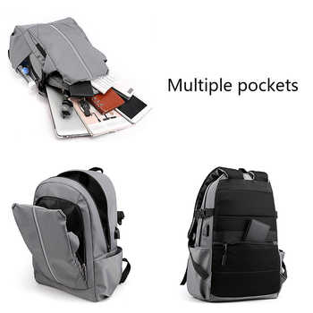 Trend Laptop Computer Backpack for Men Quality Men\'s Business Travel USB Charging Backpacks Lightweight Waterproof Back Pack
