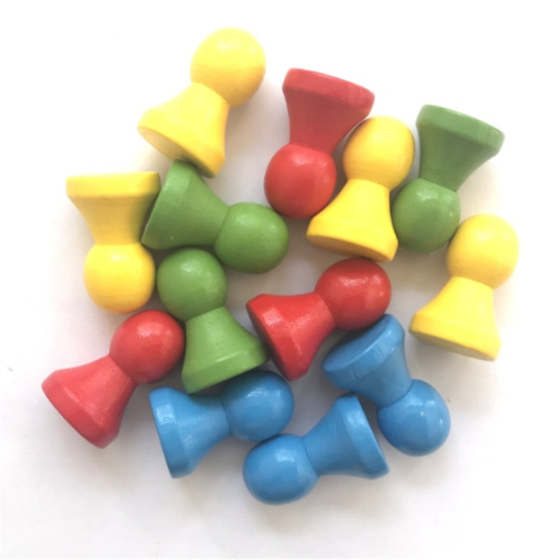 12 Pieces 21*32mm DIY Colorful Humanoid Chess Pieces Board Game Wood Games Accessories
