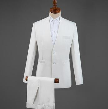 Blazer men groom suit set with pants mens Chinese tunic suit costume singer white stand collar stage clothing formal dress B382