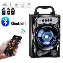 Портативный Bluetooth динамик, беспроводная басовая стерео звуковая система, светодиодный светильник, динамик, поддержка TF карты, FM радио, для путешествий на открытом воздухе