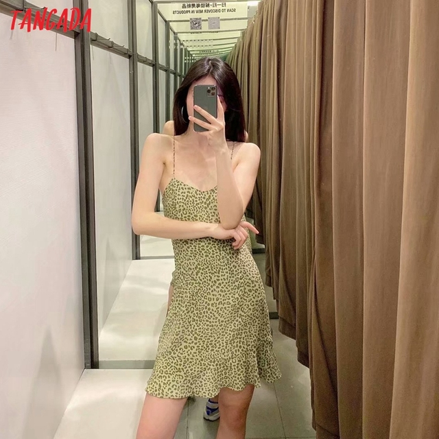 Tangada 2021 Fashion Women Leopard Print Strap Dress Sleeveless Backless Female Party Dress 5Z111 2