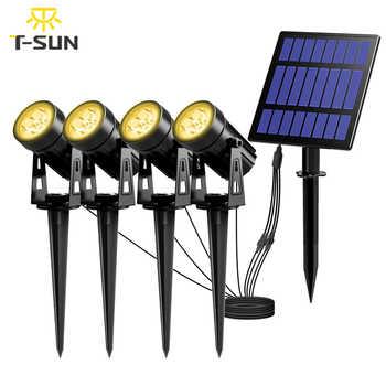 T-SUNRISE lampe de jardin solaire LED IP65 lampe solaire étanche en plein air lampe de paysage pour pelouse de jardin en plein air
