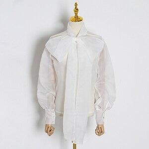 Image 4 - CHICEVER été élégant blanc maille Perspective femmes Blouse noeud col lanterne manches ample femme haut vêtements 2020 nouveau