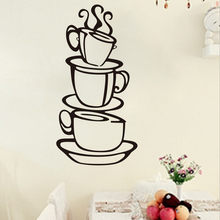 Removable DIY Waterproof Kitchen Decor Coffee House Cup Decals Vinyl Wall Sticker Room Decoration Stickers Home door Wall Decor(China)