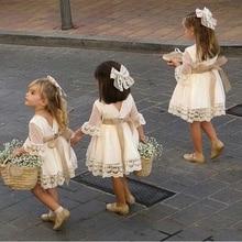 Модное белое платье подружки невесты для маленьких девочек; вечерние платья до колена с длинными рукавами и кружевным бантом для свадьбы; платья принцессы