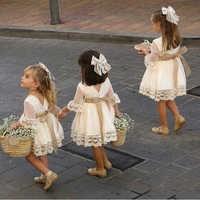 Primavera meninas vestido de dama de honra branco bebê criança crianças na altura do joelho moda festa de renda manga longa arco vestidos de noiva princesa